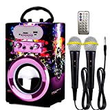Kidsonor Kids Bluetooth Karaoke Machine with 2 Microphones, Wireless Rechargeable Remote Control Portable Karaoke Speaker Music MP3 Player Loudspeaker with Microphones for Kids (Purple)