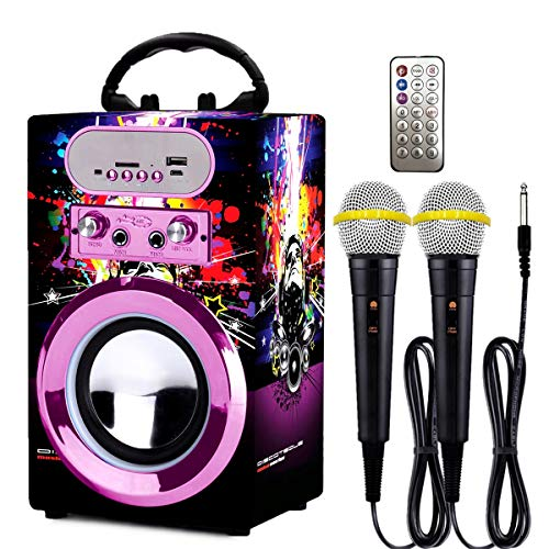 Microphone Music Toy Play Set Music Player Best Birthday Gift for Kids Anpro Kids Karaoke Machine with 2 Microphones /& Adjustable Stand