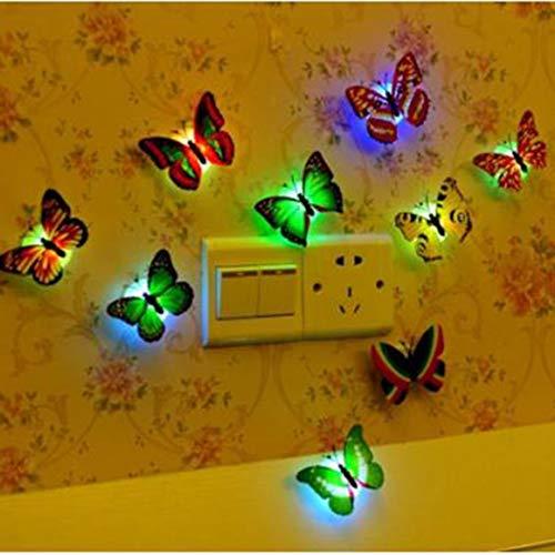 Funnyrunstore Creative Colorful LED Butterfly Night Light 3D Estéreo Simulación Butterfly Wall Stickers Decoración de pared LED Lámpara de luz nocturna, Multicolor