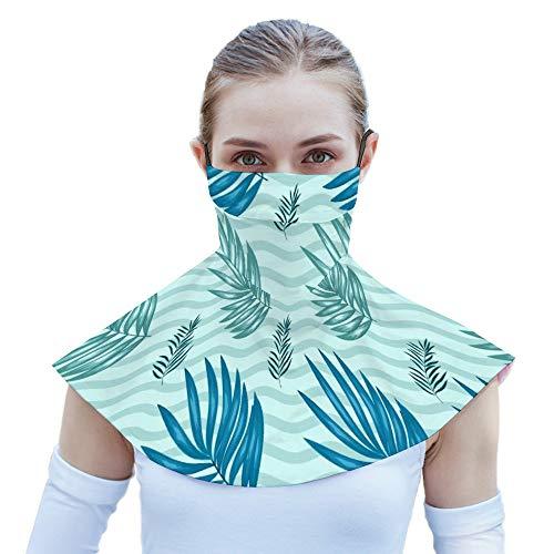 Pañuelo unisex para la cara, con trabillas para la cara, color verde claro, patrón tropical, para colgar en la oreja abierta, pasamontañas para hombre y mujer.