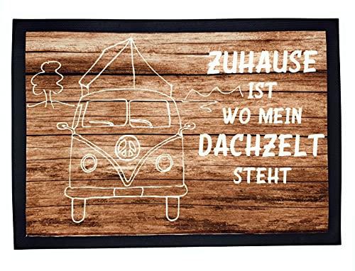 Fussmatte Dachzelt mit Spruch Zuhause ist wo Mein Dachzelt Steht 50x35cm Camping Fußmatte