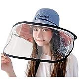 防護帽 漁師帽 Hodarey サンバイザー レディース フェイスカバー取り外し可能 帽子花粉 飛沫 ほこり 黄砂粉塵対策 レインハット防塵 キャップ ファイスカバー 釣り帽子 日よけ UVカット対策 軽量 紫外線対策 日焼け防止 おしゃれ 保護帽子