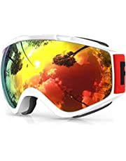 Findway Skibril,Skibrillen Dames Heren Volwassenen voor Brildragers OTG,UV Bescherming Anti Mist Ski Goggles Bolvormige Spiegel