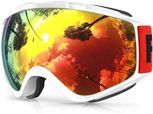 findway Skibrille, Snowboard Brille für Brillenträger Herren Damen Erwachsene Jugendliche OTG UV-Schutz Kompatibler Helm Anti Fog Skibrillen Sphärisch Verspiegelt (Revo-Rot/Weiß (VLT 9.6%))
