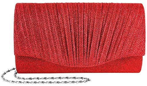 Damen Clutch Glamour Rot Elegantes Accessoire für die Abendgaderobe zu Hochzeiten, Oper und Feiern edler Glitter Glanz durch hochwertige Lurex-Garne