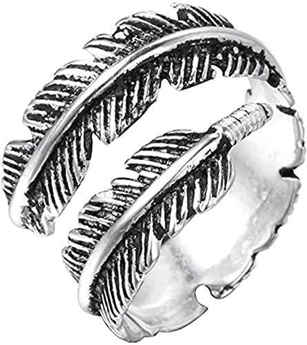 Anillo doble en diseño vintage de plumas, para mujeres u hombres, de plata de ley 925, para regalo, fiestas y bodas