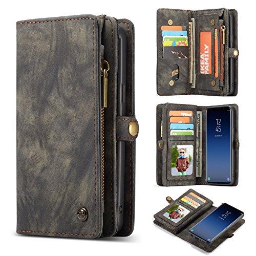 Galaxy S9 Wallet Case,AKHVRS Handmade Premium Cowhide Leather Wallet Case,Zipper Wallet Case [Magnetic Closure]Detachable Magnetic Case & Card Slots for Samsung Galaxy S9 - Black