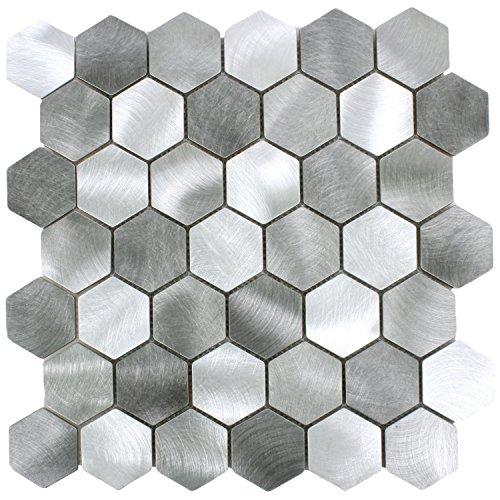 Mosaikfliesen Aluminium Manhatten Hexagon Grau Silber