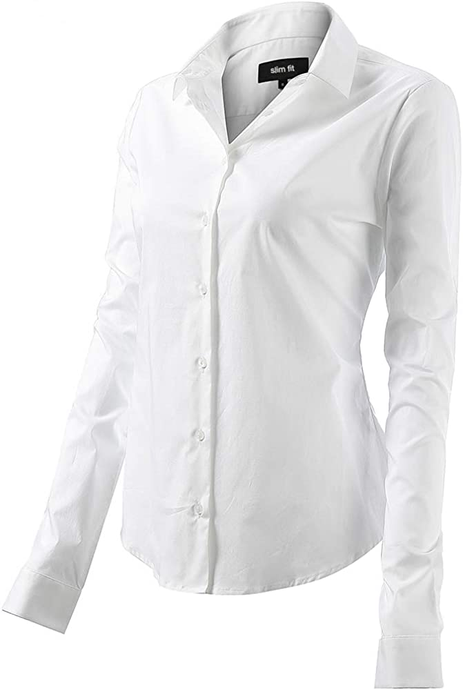 Fly hawk camicia da donna a maniche lunghe 97% cotone 3% poliestere camicetta casual bianca