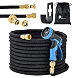 Juskys Flexibler Gartenschlauch Aqua Pro mit Brause | 30 m | Adapter 1/2 Zoll & 3/4 Zoll | schwarz | Wasserschlauch Flexschlauch flexibel knickfest