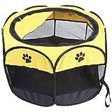 Xigeapg 犬ケージペットテント 防水猫犬小屋プレイペン屋外猫犬犬小屋オクタゴンフェンスペット用品
