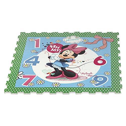 COLORBABY Tapis Puzzle en Caoutchouc Motif Anna et Elsa de la Reine des neiges 9 pièces 93 x 93 cm Minnie