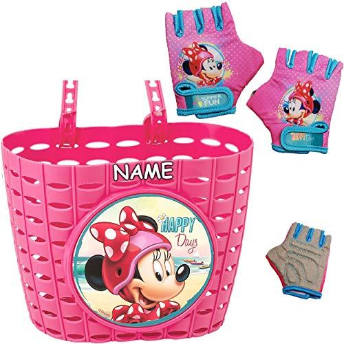 alles-meine.de GmbH 3 TLG. Set: Fahrradkorb / Korb + Fahrradhandschuhe - Disney - Minnie Mouse - inkl. Name - mit Befestigung für Lenker vorne - Fahrrad Kinder - Mädchen - Bastko..