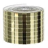EXCEART Mosaikfliesen Quadratische Selbstklebend Glasfliesen Echtglas Spiegel Fliesenaufkleber Wandfliese Wandaufkleber für DIY Küche Badezimmer KTV (Golden)