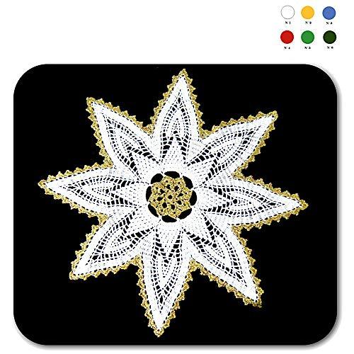 Tapete de ganchillo blanco y dorado para Navidad en algodón ...