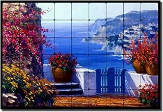 Amalfi Coast by Mikki Senkarik - Seascape Tumbled Marble Mural 24