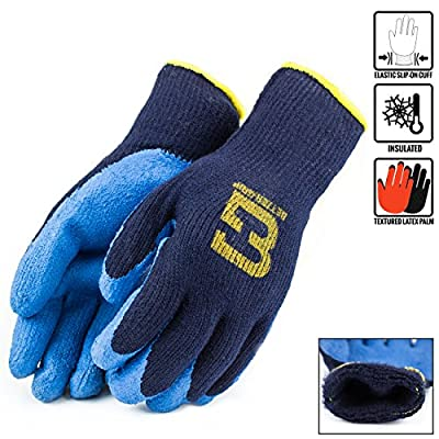 Better Grip Winter Insulated Rubber Latex Coated Work Gloves, Crinkle Pattern, 3 Pairs/ Pack