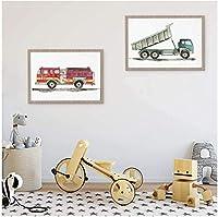 キャンバス壁建設車両水彩少年壁アートキャンバス絵画写真ダンプトラックポスタープリントキッズルームの装飾2個40x60cmフレームなし