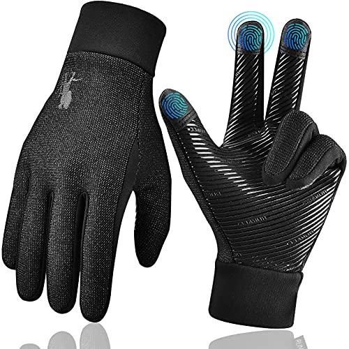 Laufhandschuhe Herren Touchscreen Thermo WinterHandschuhe - Outdoor Sport Anti-Rutsch Fahrrad Handschuhe mit Wasserdicht für Motorrad Arbeits Fitness Lauf Schwarz FahrradHandschuhe