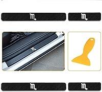 HXKGSMG ようこそペダルアンチスクラッチ。 ためにミニ Mini ミニペースマン ミニコンバーチブル ミニクーペ ミニクロスオーバー ミニクラブマン 車の スカッフプレート サイドステップカバーガード カーボンフィルム星座さそり座パターン4個 (ホワイト)