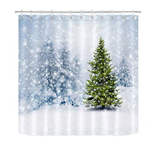 LB Winter Christmas Pine Tree Shower Curtain Snowflakes Snow Covered Trees White Winter Scene Shower Curtain for Xmas Holiday 72x72 Inch Polyester Fabric with 12 Hooks