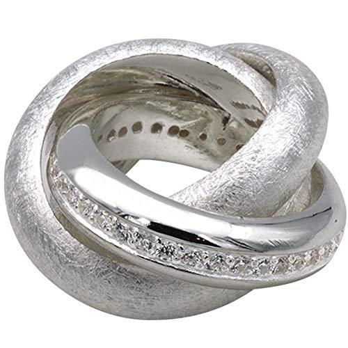 LetsBuySilver - Anello da donna in argento sterling 925 placcato oro, con 3 pietre di zirconia cubica, 3 anelli e Argento, 56 (17.8), cod. 4210733_CZ-56 - ( Ø 17,8mm)