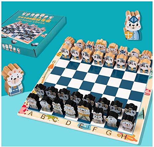 Conjunto de ajedrez de Dibujos Animados 3D Q Lindo Juego de ajedrez de ajedrez de Madera Juego de Viaje Chess Cuerda Juguete Backgammon Damas Juguetes ajedrez Entretenimiento Juego niños Regalo niños