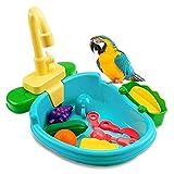 Vasca da Bagno per Pappagalli a Gabbia Accessori Gabbia per Uccelli Vasca da Bagno per Uccelli Vasca da Bagno per Uccelli Pappagallo Automatica con Rubinetto, Accessorio da Bagno per Parrocchetto