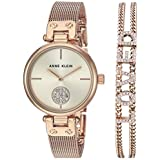 Anne Klein Women's Swarovski Crystal Accented Rose Gold-Tone Mesh Watch and Bracelet Set, AK/3552RGST