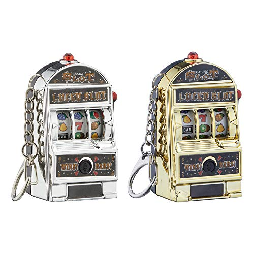 2 x Schlüsselanhänger Einarmiger Bandit mit Licht & Sound Casino Spielautomat Slotmachine (2 x Schlüsselanhänger)