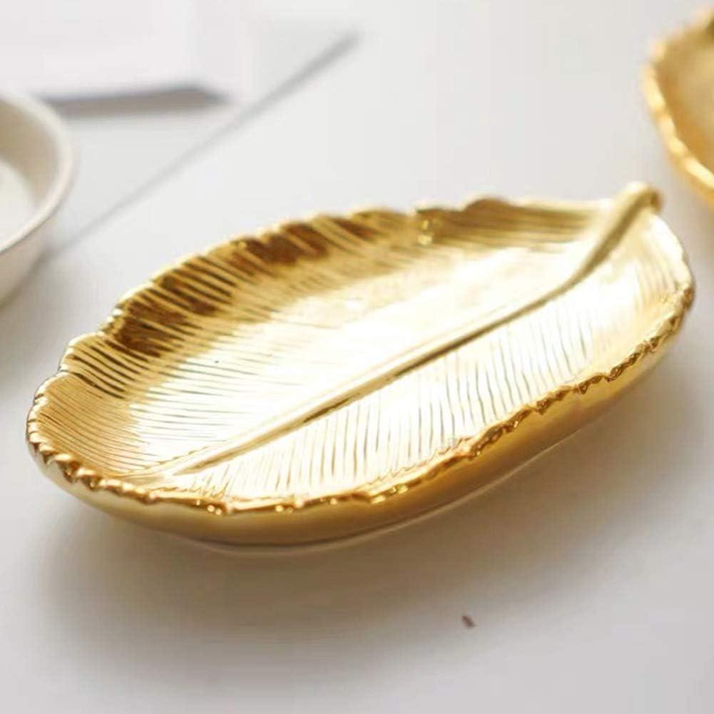 lemonadeus Small Golden Leaf Tray Ceramic Decorative Gold Trinket Dish Ring Dish Gold Leaf Jewelry Bowl Dish Vanity Tray