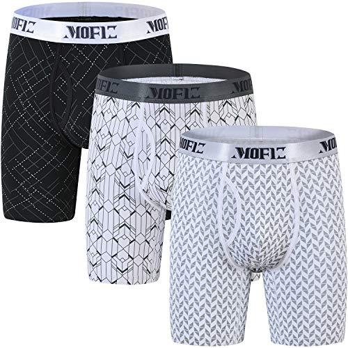 JINSHI Herren Boxershorts Langes Bein Passform Retro Briefs Unterwäsche Bunt 3er Pack M