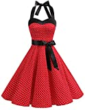 DRESSTELLS Damen Valentinstag Kleid Neckholder Rockabilly 1950er Polka Dots Punkte Vintage Retro Cocktailkleid Faltenrock Red Small White Dot L