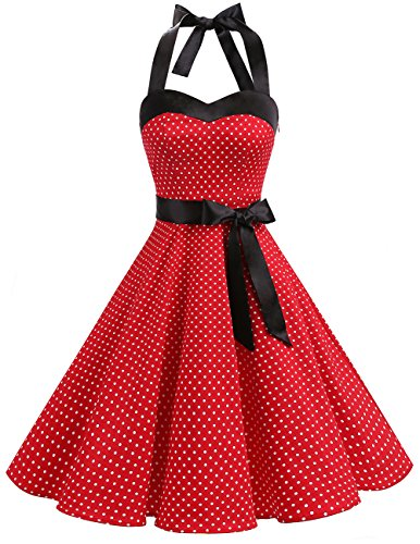 DRESSTELLS Damen Rot Neckholder Rockabilly 1950er Polka Dots Punkte Vintage Retro Cocktailkleid Faltenrock Red Small White Dot XL
