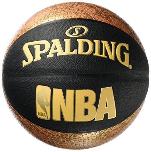 Spalding NBA Snake Ballon de Basket Mixte Adulte, Noir/Or, 7.0