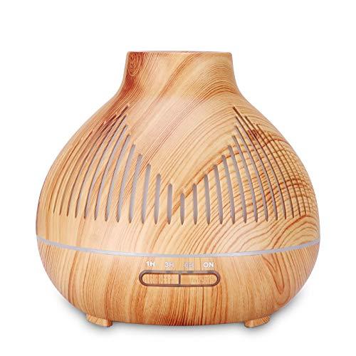 TinaDeer Aroma Diffuser mit fernbedienung, Ultraschall Öl Diffusor Holzmaserung 400ml Luftbefeuchter Aromatherapie Zerstäuber mit 7 Farben LED Licht Nachtlicht, Muttertagsgeschenk (Gelb)