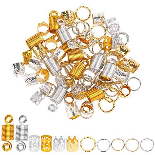 200 Pieces Dreadlocks Beads Set Hair Rings Jewelry for Braids 6 Styles Dreadlocks Accessories Hair Cuffs Metal Hair Braiding Hair Decorations - Gold and Silver