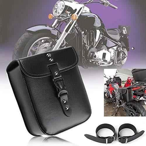 1 UNIDS Motocicleta PU Bolsa de Cuero de la Silla de Montar Impermeable lado Lateral de la Motocicleta Tanque de Equipaje Negro