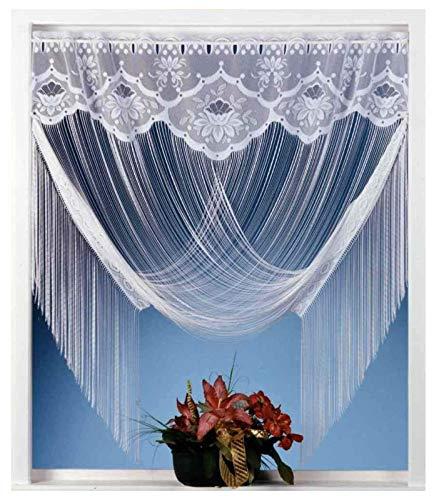 Fadengardine Vorhang Scheibengardine raffbar Jacquard Bordüre Blumen weiß HxB 205x150 cm mit Zwei Deko-Varianten Store Raffgardine KÜRZBAR .auspacken, aufhängen, fertig! Gardine Typ32