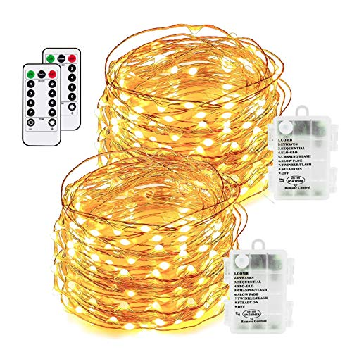 Led Fairy Lights 100 LEDs 8 Modes with Remote & Timmer Decorative Fairy Battery Powered String Lights, Copper Wire Light for Bedroom,Wedding(33ft/10m Warm White 2PACK)