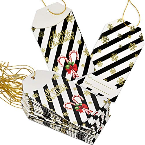50 Pack Christmas Card Gift Holder Tags with Ribbon Tie Strings Attached Gold foil Holiday Design Write On to and from Name Tag Labels for Gift Bags Wrapping Presents & Packages by Gift Boutique