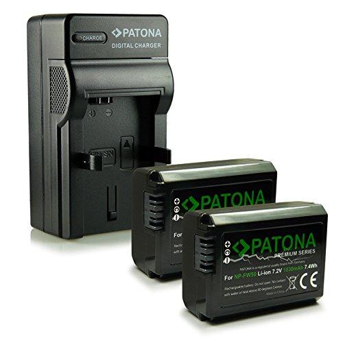 PATONA 4en1 Cargador + 2x Premium Batería NP-FW50 compatible con Sony NEX-3 NEX-5 NEX-6 NEX-F3 Alpha 5000 6000