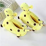 Zapatillas de Estar Por Casa Jirafa Zapatillas de Felpa Mujer Invierno Animales de Dibujos Animados Zapatos de Algodón Antideslizante Cálido Interior Ocio Zapatos de Piso-Yellow_Free Talla 35-42