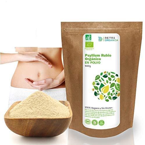 Psyllium Husk Powder BIO 500 g | Cáscaras De Psyllium Rubio Orgánico Triturado | Plantago Ovata Alto En Fibra - Sin Gluten – Apto Para Veganos | Control De Apetito – Mejora La Digestión