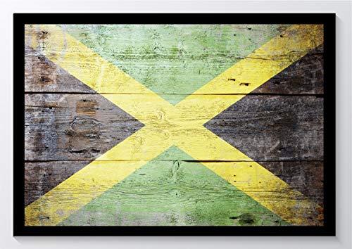 Flagge Holz Jamaika Kunstdruck Poster -ungerahmt- Bild DIN A4 A3 K0863 Größe A3