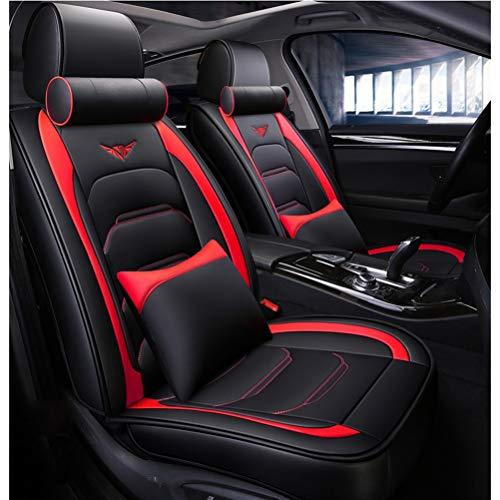 Auto sitzbezüge Autositzbezug Full Set Wasserdichte Ledermatten Zubehör Universal for kompatiblen Audi A3 / A4 / A5 / A6 / A8 / Q3 / Q5 / RS4 (Farbe : Black+red-Luxury)