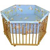 HONEY BEE Kinderlaufstall Babylaufgitter Laufstall 6 eckig + Einlage blau Ente, 3 fach höhenverstellbar