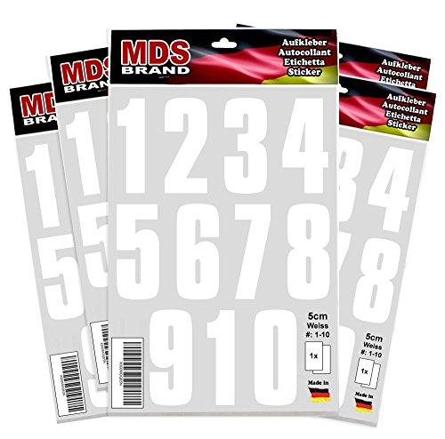 5cm Zahlen 1-10 - Klebezahlen - 5-Pack - Selbstklebend Weiss