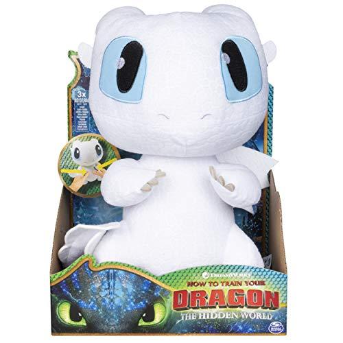 Dragons 6046845 - Movie Line - Squeeze & Growl, Plüschfigur mit Sound - Tagschatten (Solid), Drachenzähmen leicht gemacht 3, Die geheime Welt