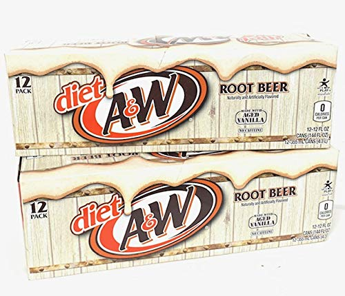 7 UP A&W Diet Root Beer, 12-Ounce (Pack of 24)